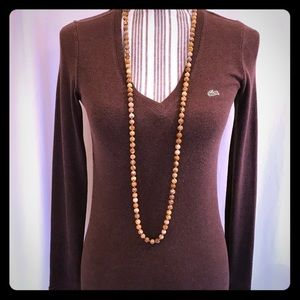 Lacoste Brown V-neck top. Size 38 (6 or Med) EUC